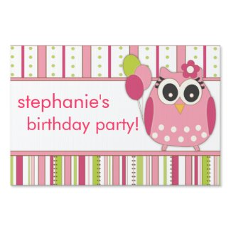 Pink & Lime Girly Owl Birthday Party Lawn Sign
