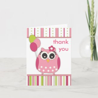 Pink & Lime Girly Owl Thank You Note Card