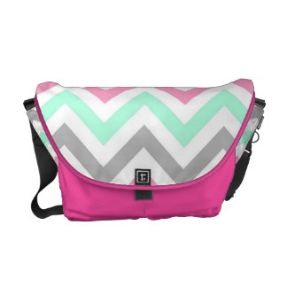 Pink,Lime,Gray and White Zigzags Messenger Bag