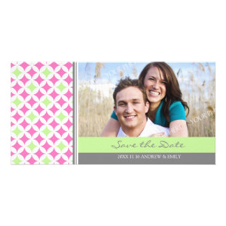 Pink Lime Gray Save the Date Wedding Photo Cards