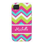 pink, lime green, blue, white chevron iPhone 4 cover