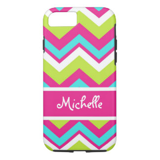 pink, lime green, blue, white chevron iPhone 8/7 case