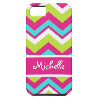 pink, lime green, blue, white chevron iPhone SE/5/5s case