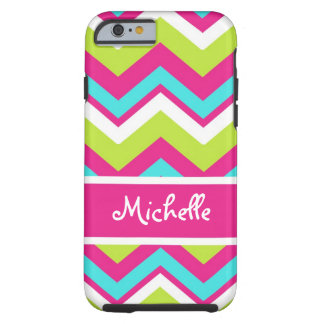pink, lime green, blue, white chevron tough iPhone 6 case