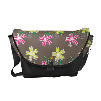 Pink & Lime Green Daisies on Brown Background Courier Bags