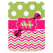 Pink Lime Green Ladybug Dots Chevron Personalized Swaddle Blanket