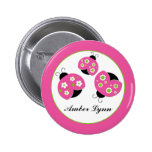 Pink & Lime Green Ladybugs 2 Inch Round Button
