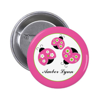 Pink & Lime Green Ladybugs Button