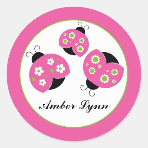 Pink & Lime Green Ladybugs Round Sticker