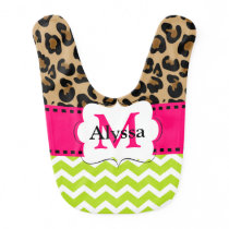 Pink Lime Green Leopard Chevron Personalized Bib