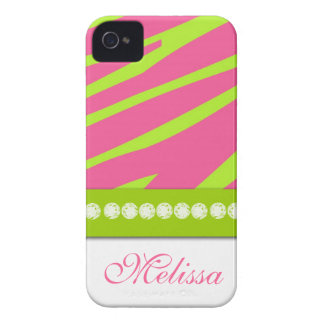 Pink Lime Green Zebra Print iPhone 4 Case-Mate Case-Mate iPhone 4 Cases