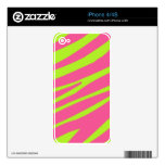 Pink Lime Green Zebra Stripes Pattern iPhone 4 Skins