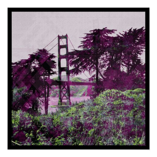 Pink_lime mágico del puente de la puesta del sol impresiones