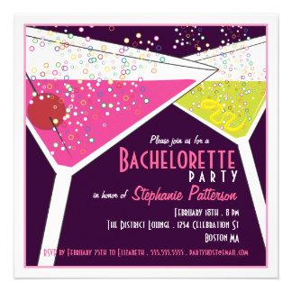 Pink Lime Martini Bachelorette Party Invitation