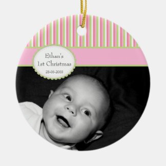 Pink Lime Stripe Baby's 1st Christmas Photo Ceramic Ornament