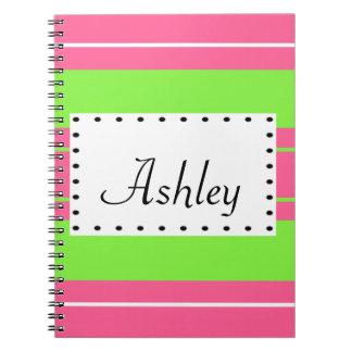 Pink & Lime Stripe Monogram Spiral Notebook