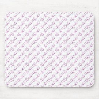 Pink Lineart Butterfly Pattern Mouse Pad
