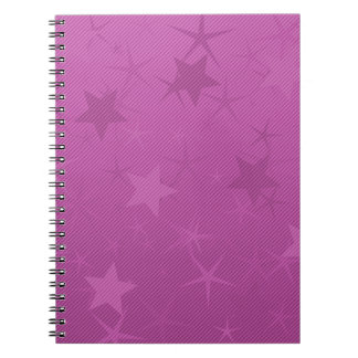 Pink Lined Star Field Spiral Notebook