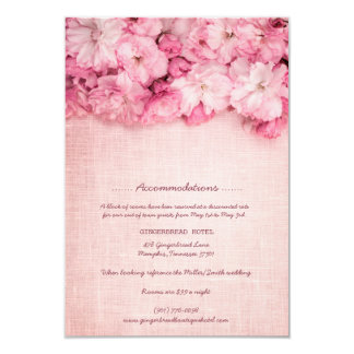 Pink Linen Floral Bouquet Hotel Accommodation Card