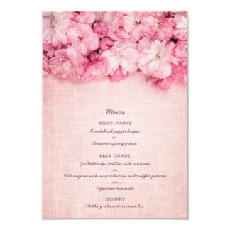 Pink Linen Floral Bouquet Wedding Menu Card