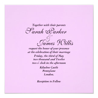 pink linen Wedding Invite