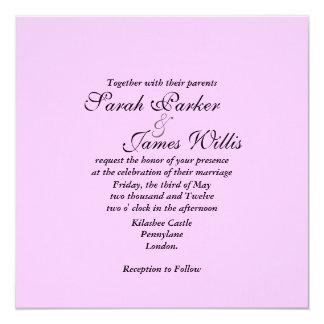 pink linen Wedding Invite