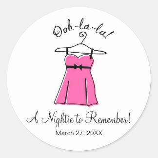 Pink Lingerie Bridal Shower Stickers