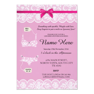 Pink Lingerie Shower Bridal Party Lace Bow Invites