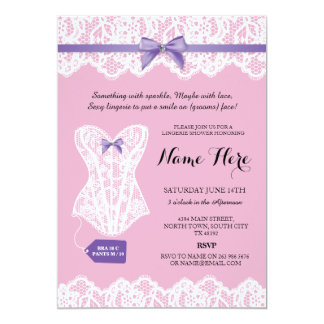 Pink Lingerie Shower Bridal Purple Corset Invites