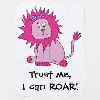 Pink Lion can ROAR Baby Blanket