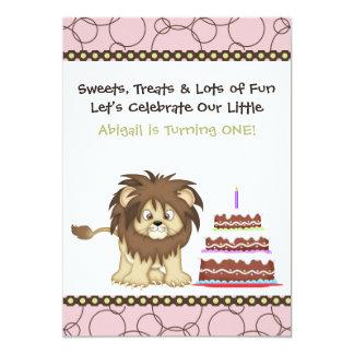 Pink Lion First Birthday Invitation for Girls