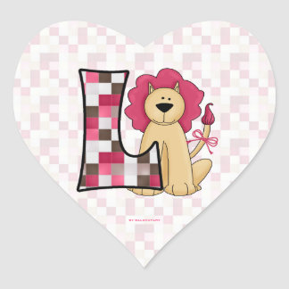 "Pink Lion Monogram ""L"" Heart Stickers"