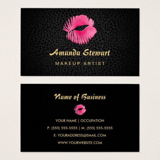Pink lip gloss kiss black cheetah makeup artist business card pink lip gloss kiss black cheetah makeup artist business card reheart Choice Image