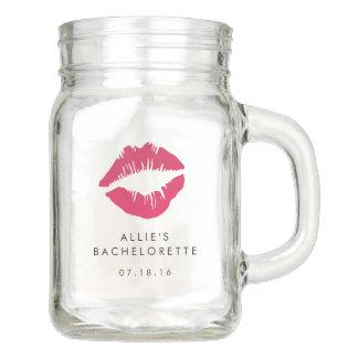 Pink Lip Print Kiss Bachelorette Party Mason Jar