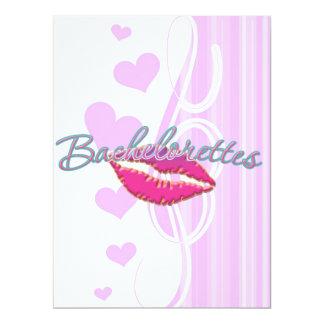 pink lips bachelorettes party bridal bridesmaids 6.5x8.75 paper invitation card
