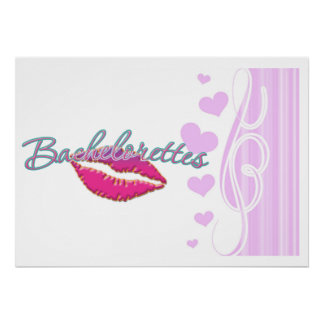 pink lips bachelorettes party bridal bridesmaids poster
