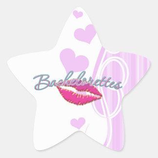 pink lips bachelorettes party bridal bridesmaids star sticker