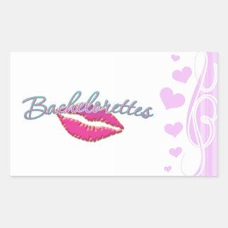 pink lips bachelorettes party bridal bridesmaids rectangular sticker