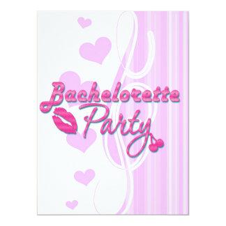pink lips cherries bachelorette party bridal 6.5x8.75 paper invitation card