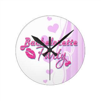 pink lips cherries bachelorette party bridal round clock