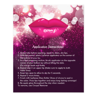 Pink Lips Glitters Beauty Salon Instruction Tips Flyer