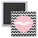 Pink Lips on Black and White Zigzag 2 Inch Square Magnet