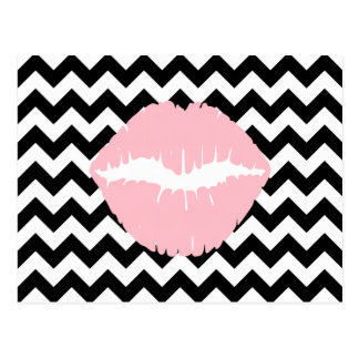 Pink Lips on Black and White Zigzag Postcard