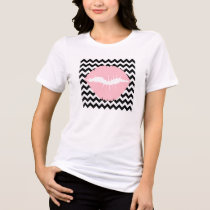 Pink Lips on Black and White Zigzag T-Shirt