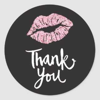 pink lips on black thank you classic round sticker