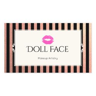 Pink Lips Rose Gold & Black Glitter Stripes Makeup Business Card
