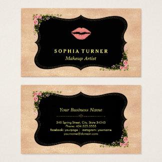 Pink Lips Rose Gold Glitter Wild Flowers Monogram Business Card