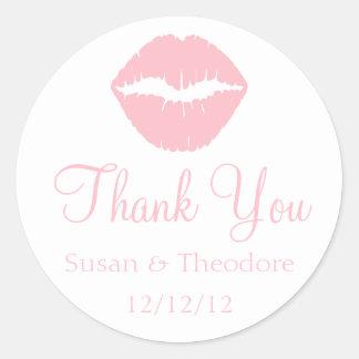Pink Lips Thank You Classic Round Sticker