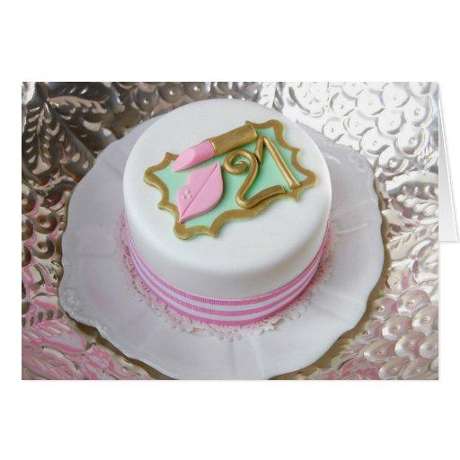 Lipstick Cake: Pink Lipstick 21st Celebration Cake Greetings Card