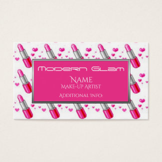 Pink Lipstick Hearts Cosmetics Business Card 2